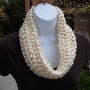 SUMMER COWL SCARF Solid Light Cream Creme, Small Short Infinity Loop, Crochet Knit, Soft Lightweight Neck Warmer..Ready to Ship in 2 Days