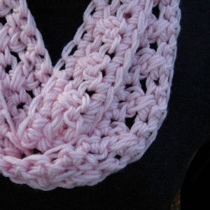 SUMMER SCARF Infinity Loop Cowl, Solid Light Pink, Soft Crochet Knit Lightweight Small Skinny Necklace, Neck Tie..Ready to Ship in 2 Days