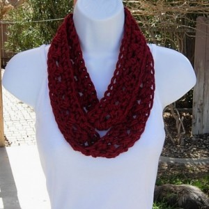 SUMMER SCARF Infinity Loop Cowl Dark Solid Red Soft Lightweight Small Narrow Circle Crocheted Necklace, Neck Tie..Ready to Ship in 2 Days
