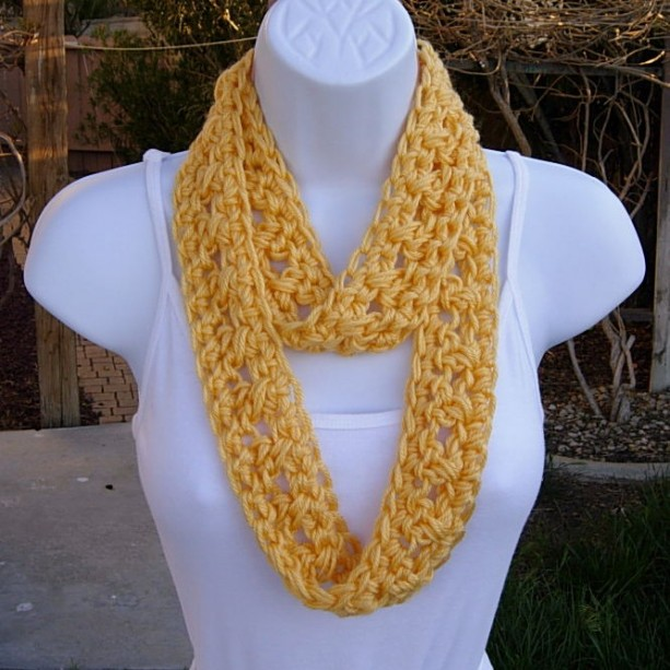 Knitting Summer Scarves : Small skinny solid yellow women s summer infinity loop