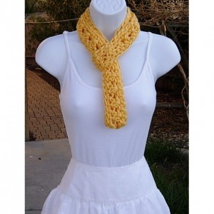 SUMMER SCARF Infinity Loop Cowl, Solid Light Yellow, Soft Crochet Knit Lightweight Small Skinny Necklace, Neck Tie..Ready to Ship in 2 Days