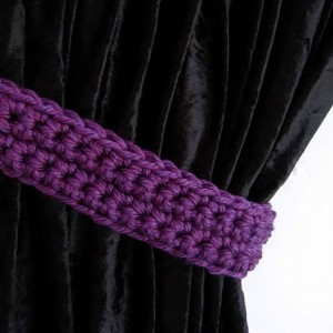 Curtain Tiebacks Set, Curtain Tie Backs, One Pair Solid Dark Purple Holdbacks, Simple Drapery Drapes Holders, Thick Crochet Knit..Ready to Ship in 3 Days, Customizable