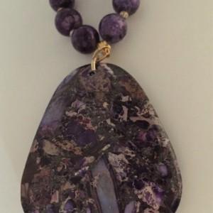 Purple Beaded Necklace with Sea Sediment Pendant