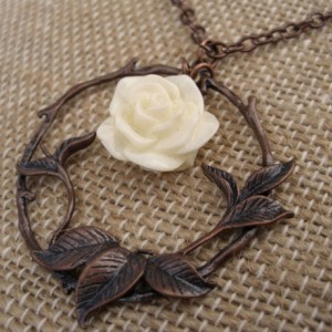 Antique Copper and Cream Rose Necklace
