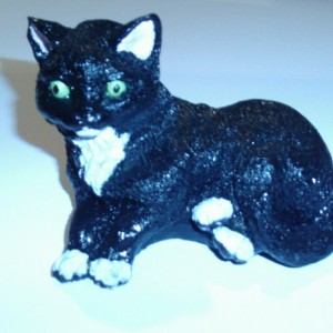 Small Black and White Cat Statue
