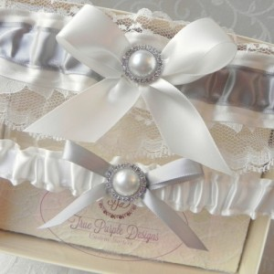 Gray & Ivory Satin and Lace Garter Set