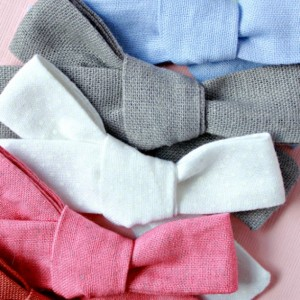 Clip or Headband knotted bows, Set of 3, schoolgirl bows, little girl, newborn