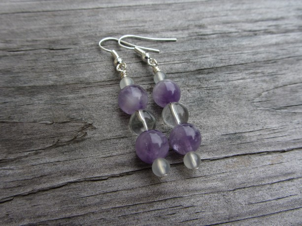 Amethyst Earrings, Quartz Earrings, New Jade Earrings