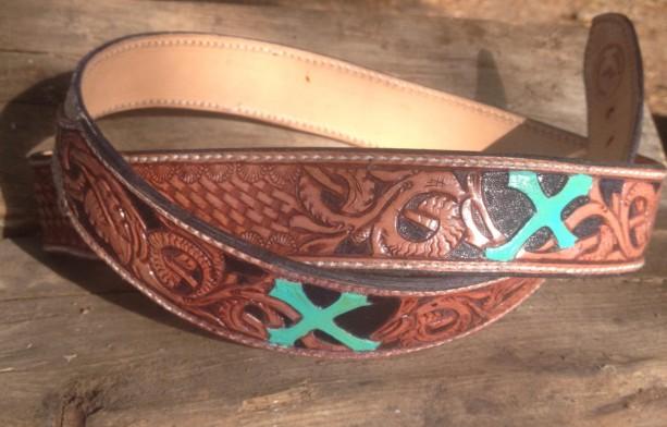 "Hand Carved Leather Belt (36"")"