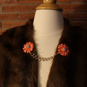 Coral flowers and rhinestone 1950s style sweater clip