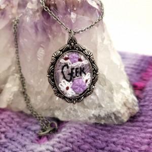 """""""Geek"""" Embroidery Hoop Art Necklace"""