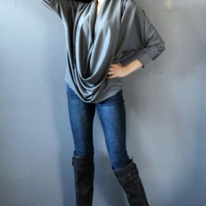 Dolman Long Sleeve Gray Deep Cowl Draped Silk Jersey Shirt