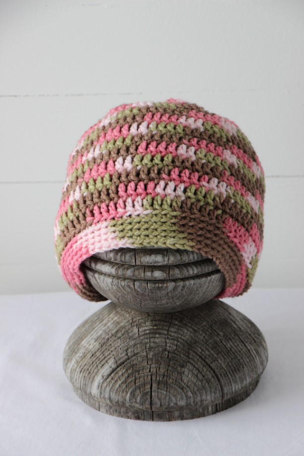 4-7 year old Girls Crochet Pink Camo Beanie Hat Cap  d598b6d020a