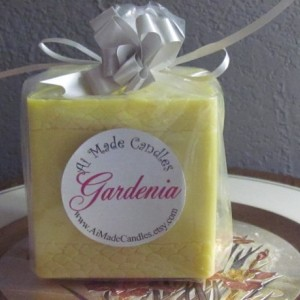 Gardenia Scented Soy Pillar Candle In Yellow