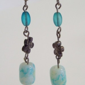 Blue and White Barrel Bead, Blue Round Crackle Glass and Blue Rice Glass Beaded Dangle Earrings