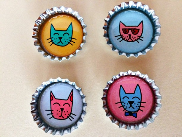 Bottle Cap Magnets - fun cats