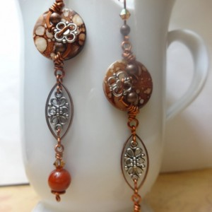 Asian-Inspired Cherry Blossom Dangle Earrings