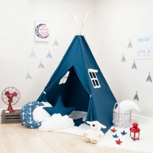 Solid Navy Blue Kids Teepee Set
