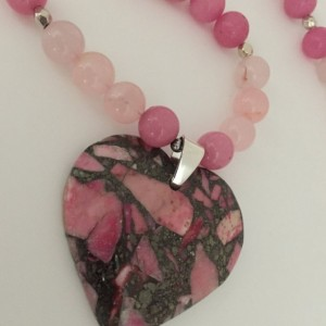 Pretty Pink Beaded Necklace with Sea Sediment Pendant