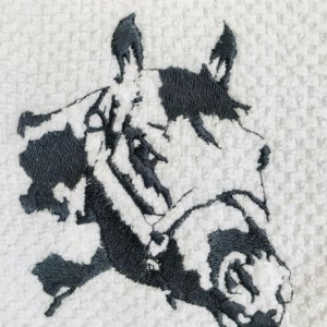 HORSE-DEEP GRAY. Embroidered Kitchen Towel. A Great Horse Display For Your Home. Perfect All Occasion Gift. White Towel W/Gray Border Only