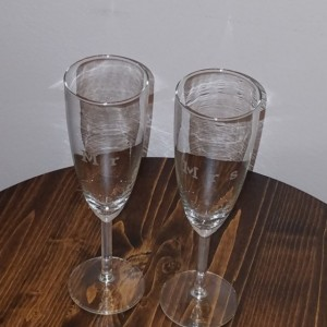 Set of Mr & Mrs Champagne Glasses