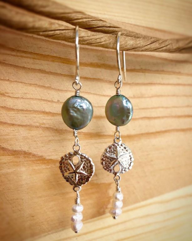 Sand Dollar Pearl Earrings