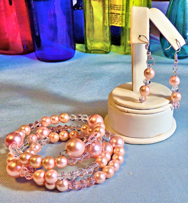 Pink Pearl and Crystal Bracelet and Earrings Set