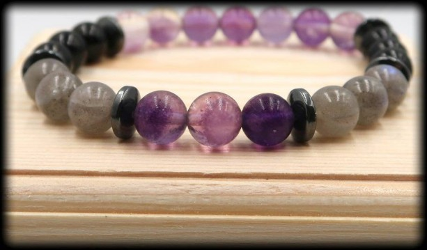 Fluorite, Labradorite and Black Tourmaline Bracelet for Transformations