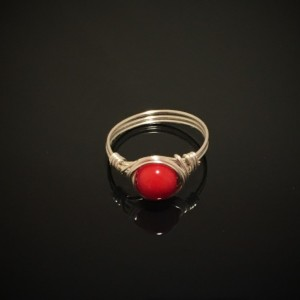 Handmade .999 Fine Silver Wire Wrapped Authentic Red Coral Gemstone Ring