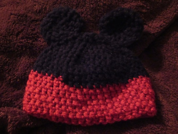 Newborn sized Mickey Mouse hat