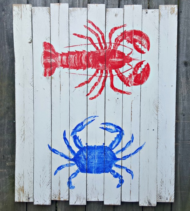 Large Handcrafted Distressed Reclaimed Wooden Nautical Red Lobster Blue Crab Sign