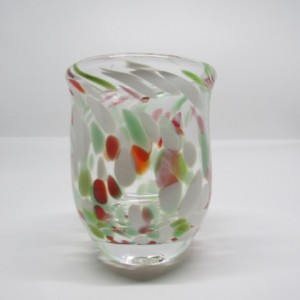 Red, Green, and White  Hand Blown Juice Glasses- Low Ball Drinking Glasses-Glassware-Barware