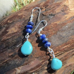 Sterling Silver Lapis Lazuli and Real Turquoise Drop Earring, Sterling Silver, Teardrops, Baby Blue, Gemstone earrings, Healing Jewelry