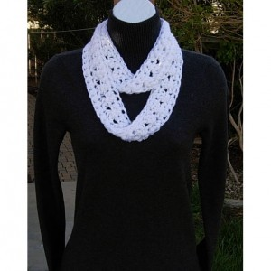 SUMMER SCARF Small Infinity Loop Solid White, Super Soft Lightweight Crochet Knit Endless Circle Neck Skinny Cowl..Ready to Ship in 3 days