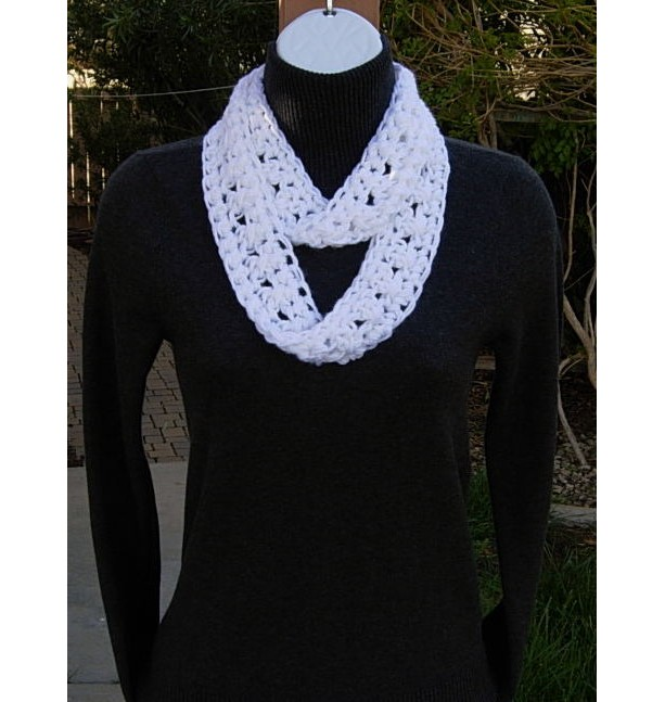 Solid White Small Skinny Lightweight Summer Infinity Loop Scarf Aftcra