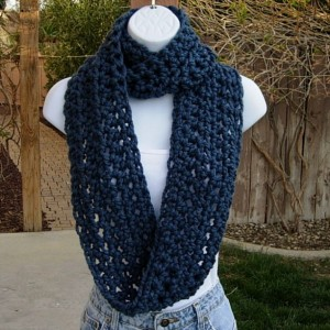 INFINITY SCARF Loop Cowl, Solid Medium Denim Blue, Warm Soft Wool Blend, Crochet Knit Winter Circle Endless Wrap..Ready to Ship in 3 Days
