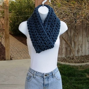 INFINITY SCARF Loop Cowl, Solid Medium Denim Blue, Warm Soft Wool Blend, Crochet Knit Winter Circle Endless Wrap..Ready to Ship in 2 Days