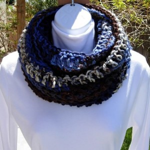 COWL SCARF Infinity Loop, Blue White Brown Stripes, Striped Crochet Knit Winter Circle Wrap Soft Bulky 100% Acrylic..Ready to Ship in 3 Days