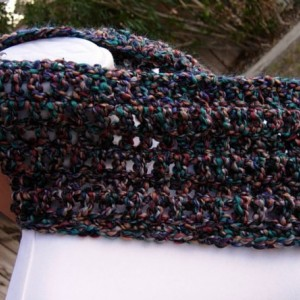 SUMMER COWL SCARF, Dark Teal Blue, Brown, Rust Red, Purple, Small Short Infinity Loop Crochet Knit Soft Lightweight, Ready to Ship in 2 Days