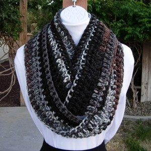 Extra Long INFINITY SCARF, Loop Scarf, Cowl, Grey Gray Black Brown White Soft Narrow Skinny Crochet Knit Winter..Ready to Ship in 3 Days