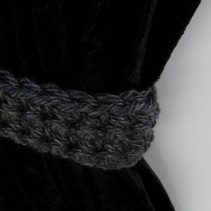 Dark Gray Curtain Tiebacks, Curtain Tie Backs, One Pair, Solid Dark Grey, Drapery Ties Ties, Drapes Holders, Crochet Knit..Ready to Ship & Custom