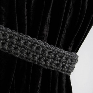 Dark Gray Curtain Tiebacks, Curtain Tie Backs, One Pair, Solid Dark Grey, Drapery Ties, Drapes Holders, Crochet Knit..Ready to Ship & Custom