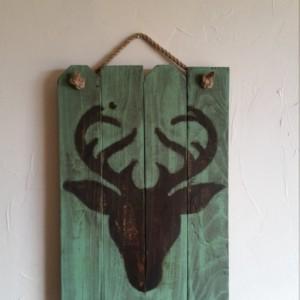Rustic, handmade deer head silhouette wall hanging