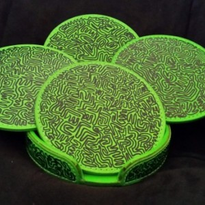 Green Leather Coasters, Set of 4