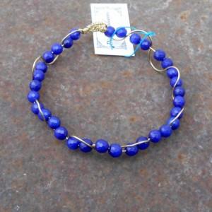 Bracelet-Sapphire and brass wave bracelet.