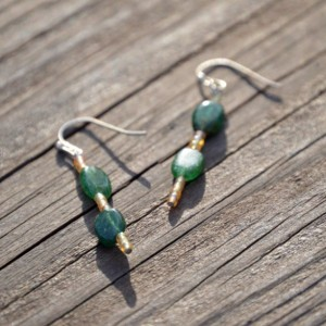 Yellow and Green Earrings