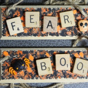 Set of 2 Scrabble® Game Tile Wooden Plaques Fear & Boo