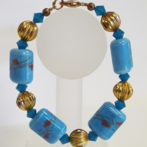 Blue Ceramic Rectangle Bead with Gold  Round Beads and Blue Crystal  Beaded Bracelet