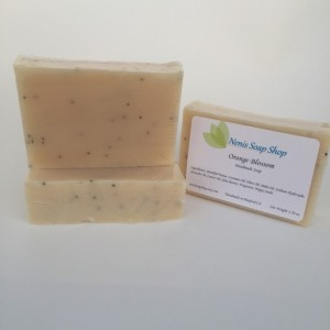 Orange blossom with poppy seeds, handmade soap, exfoliating soap, vegan soap, handcrafted soap, lightly scented soap