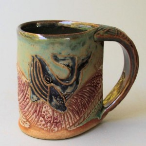 Whale Pottery Mug Coffee Cup Handmade Stoneware Tableware Microwave and Dishwasher Safe